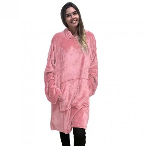 Blusão Poncho Flannel com Capuz Adulto - Toalhas Appel - Rosa seda