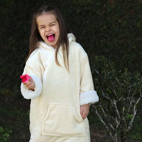 Blusão Poncho Sherpa com Capuz Infantil - Toalhas Appel - Natural