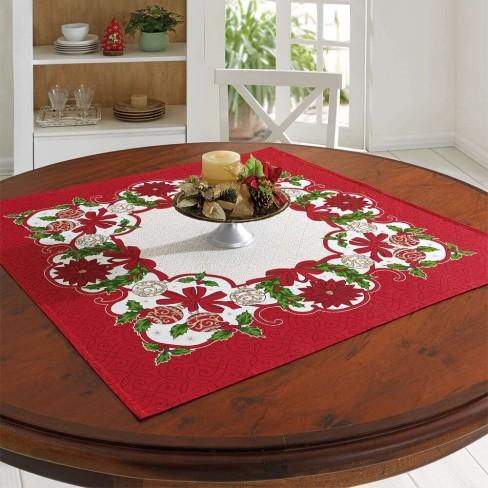 Centro de Mesa Genebra Natal 78x78 - Döhler - Floral/vermelho