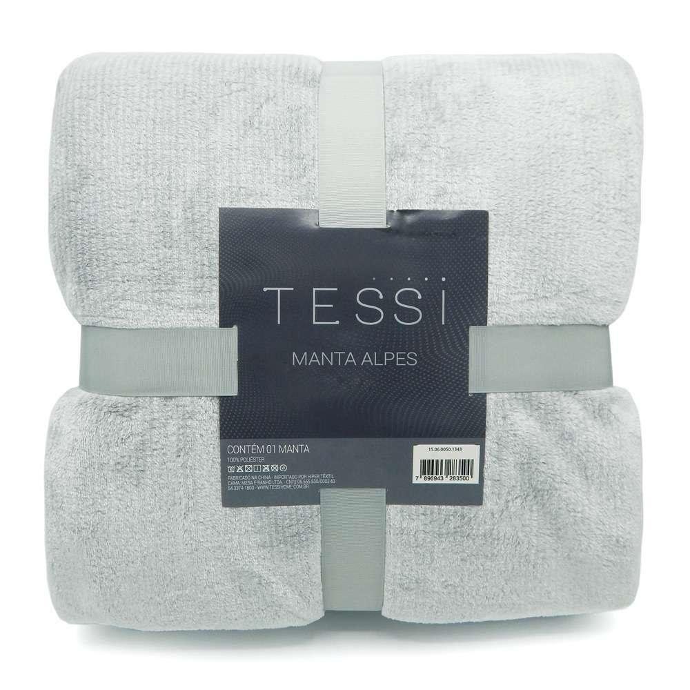 Cobertor Manta Alpes Solteiro 1,50x2,20 - Tessi - Cinza