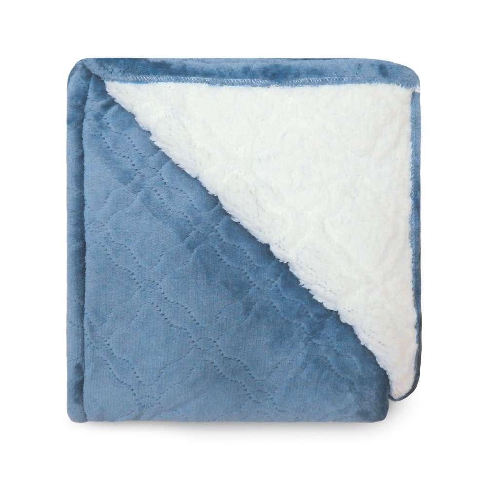 Cobertor Sherpa Glamour King 2,50x2,70 - Toalhas Appel - Azul infinity