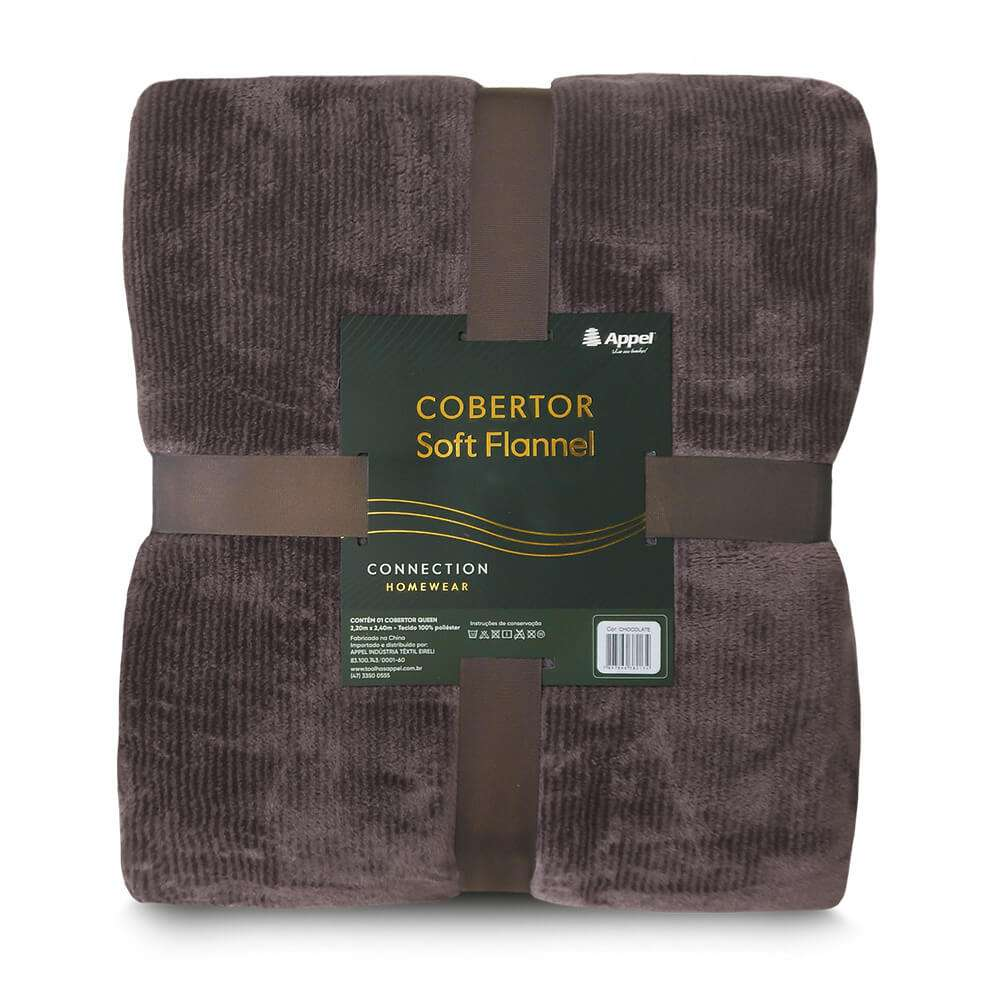 Cobertor Soft Flannel Cationic Queen 2,20x2,40 - Toalhas Appel - Chocolate