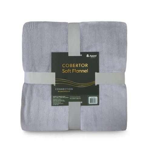 Cobertor Soft Flannel Cationic Casal 1,80x2,20 - Toalhas Appel - Cinza
