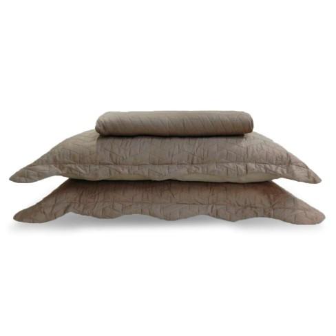Colcha Ultrassônica com Porta Travesseiro Solteiro - Appel - Madeira