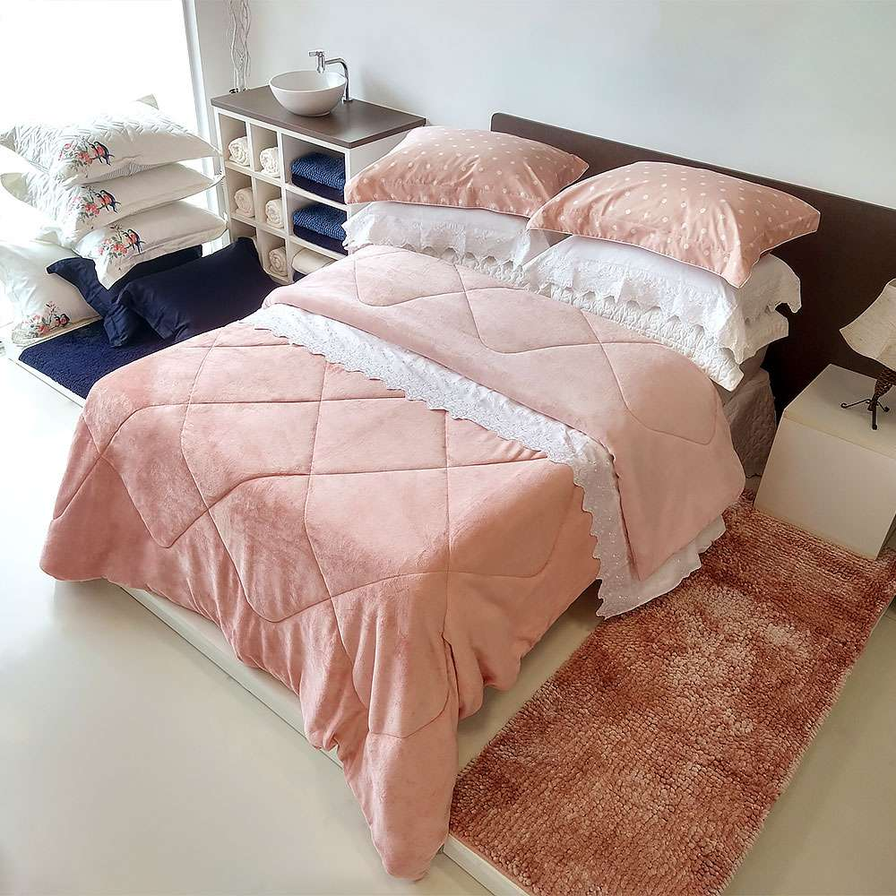 Edredom Plush Flannel Dupla Face Queen 2,20x2,40 - Toalhas Appel - Rosa