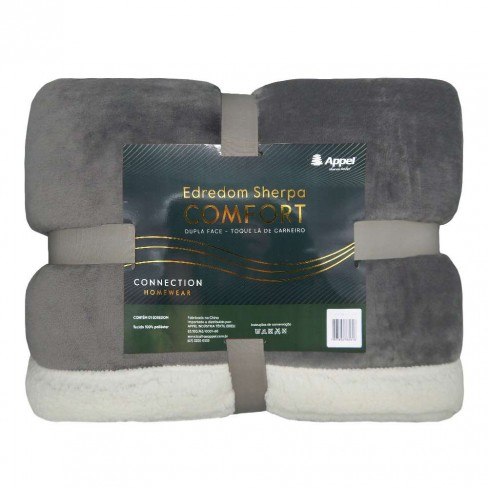 Edredom Sherpa Comfort Dupla Face Queen 2,10x2,30 - Toalhas Appel - Cinza