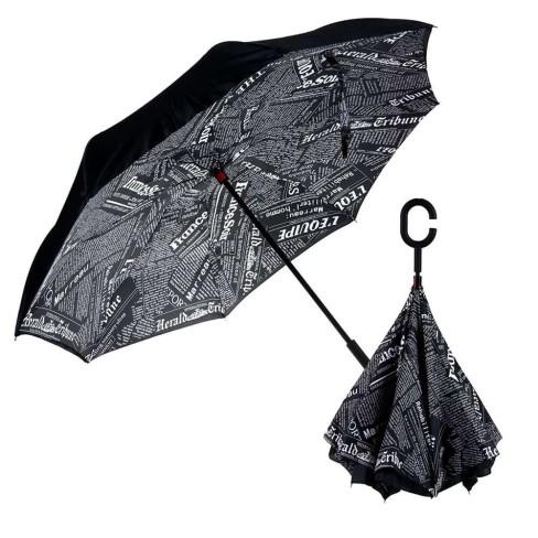 Guarda Chuva Invertido Abre Ao Contrario 1,07M De Diametro - Panosul Estampado - Preto