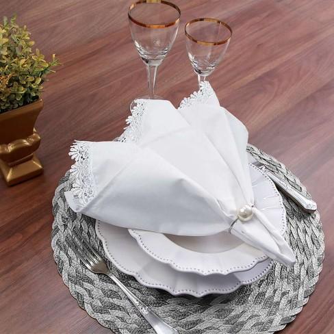 Guardanapo de tecido com detalhe em renda Guipir 51x51 - Appel - Branco