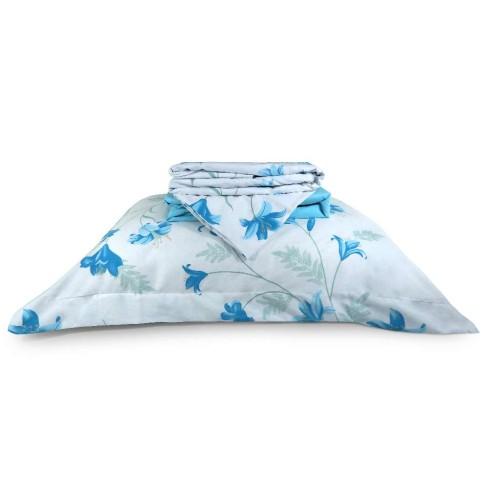 Jogo de Cama Percal 200 Fios Algodão Solteiro - Appel - 2945 azul floral