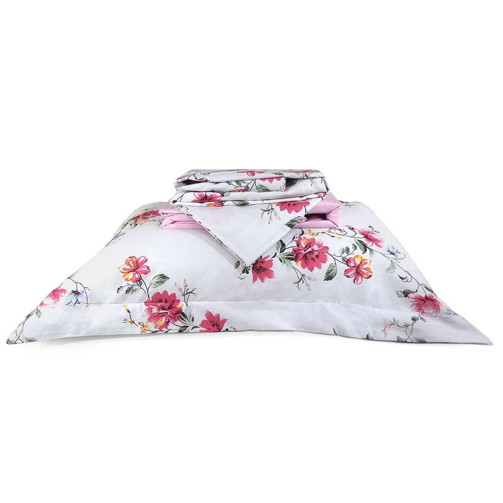 Jogo de Cama Percal 200 Fios Algodão King - Appel - 3621 rosa floral