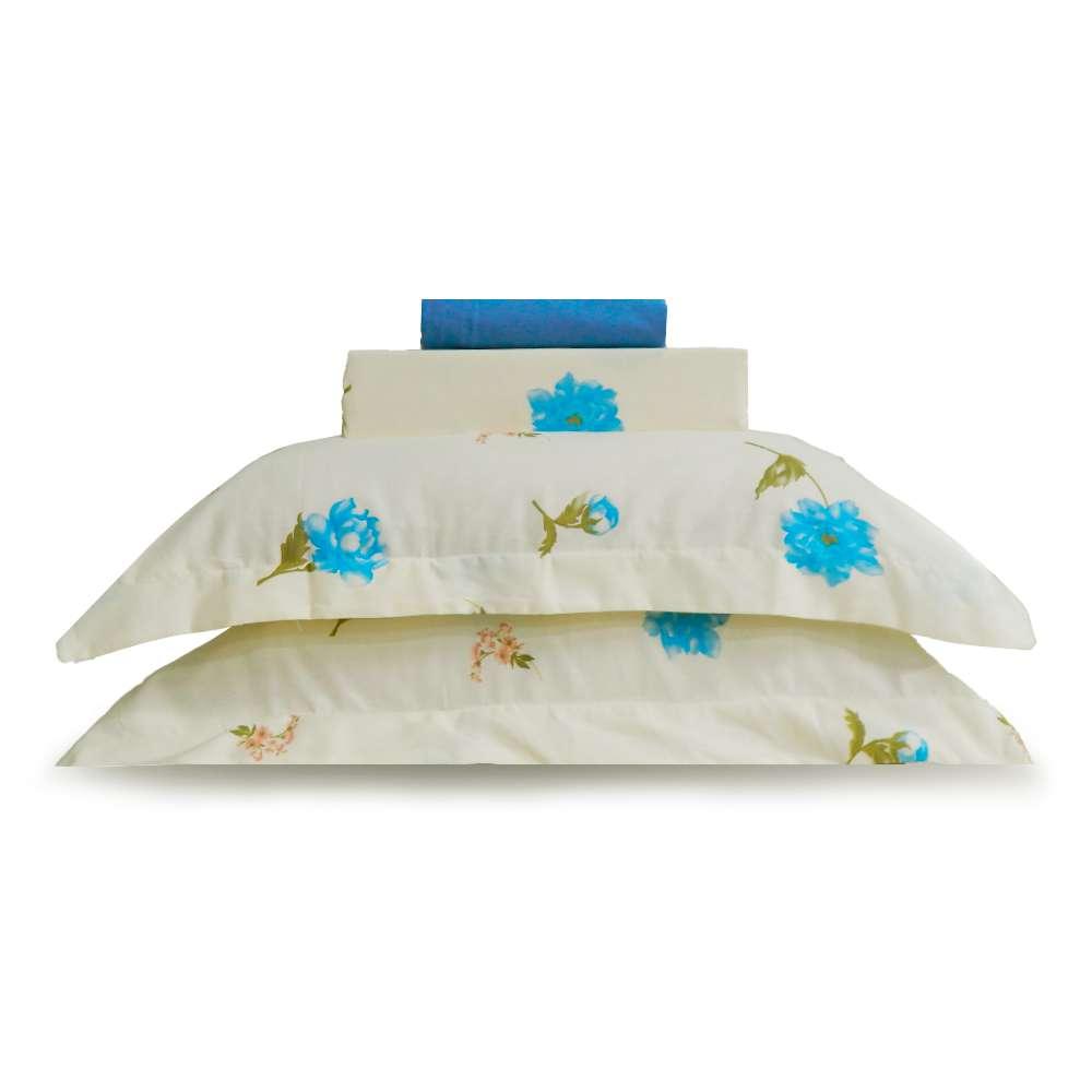 Jogo de Cama Percal 250 Fios Casal Appel - Floral azul 2534