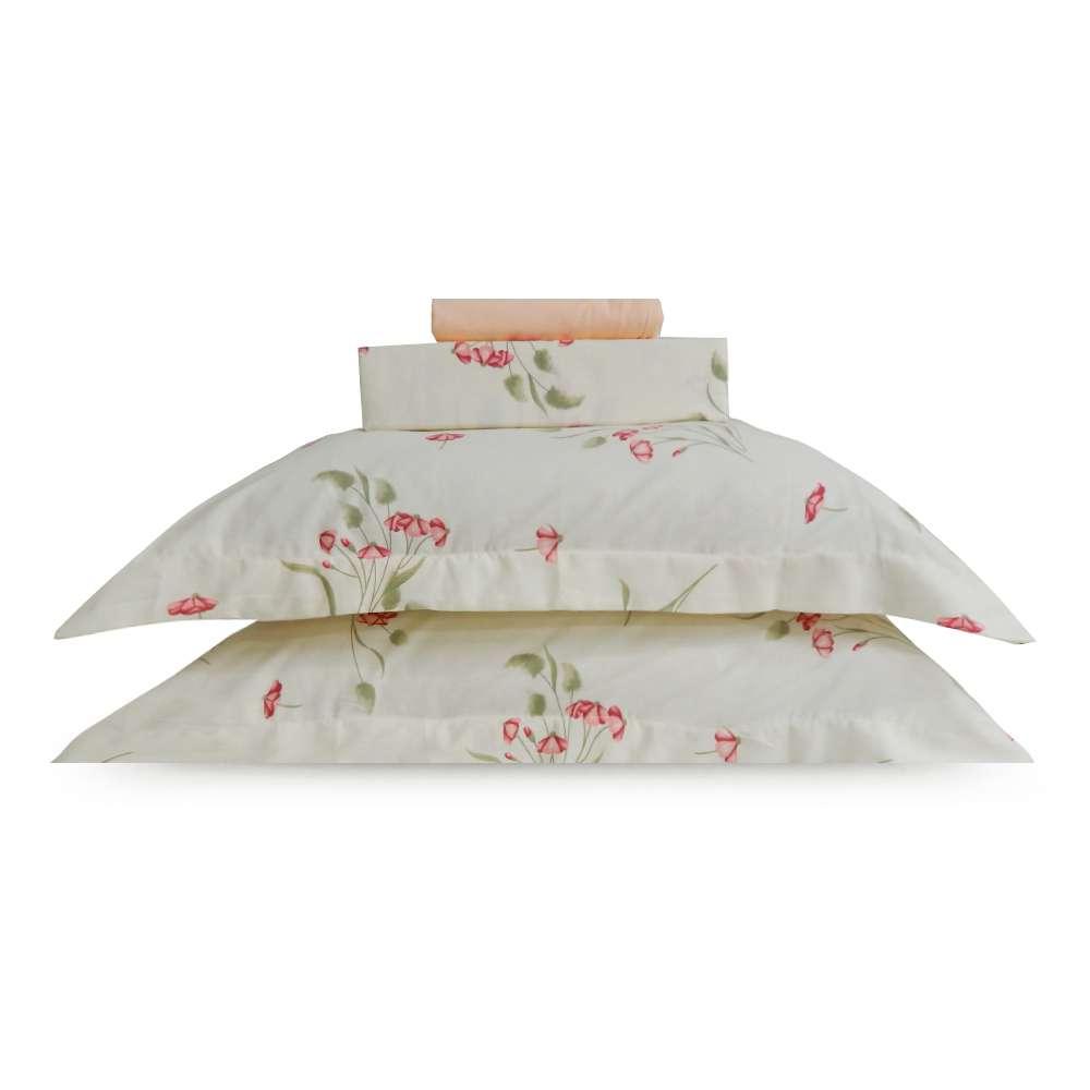 Jogo de Cama Percal 250 Fios Casal Appel - Floral rosa 2934