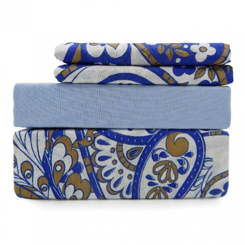 Jogo de Cama Queen Premium Plus - Estamparia - Azul floral