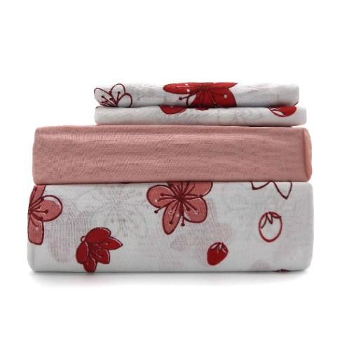 Jogo de Cama Casal Premium Plus - Estamparia - Floral/vermelho