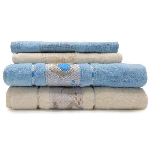 Jogo de Toalha 4 peças Infantil Soft Baby e Lavabo Decor - Appel - Azul céu/pérola