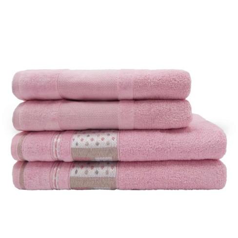 Jogo de Toalha 4 peças Infantil Soft Baby e Lavabo Decor - Appel - Rosa baby
