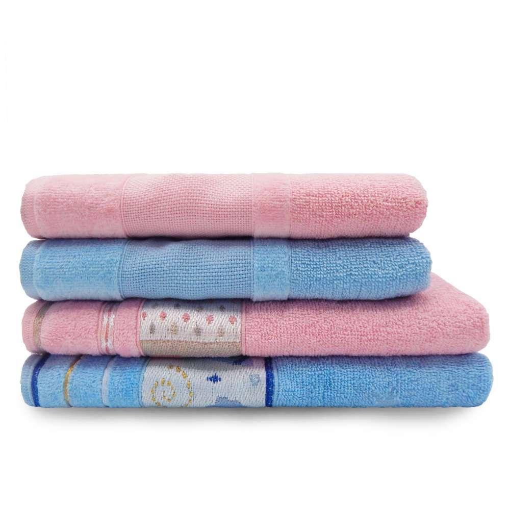 Jogo de Toalha 4 peças Infantil Soft Baby e Lavabo Decor - Appel - Alaska/rosa baby