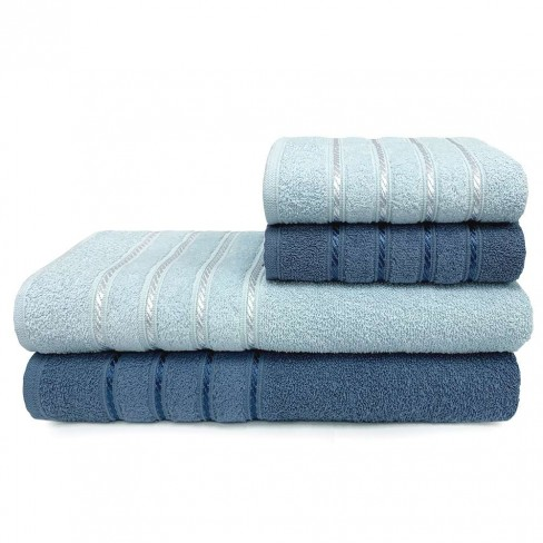 Jogo de Toalhas 4 Peças Monari - Toalhas Appel - Azul infinity/azul polar