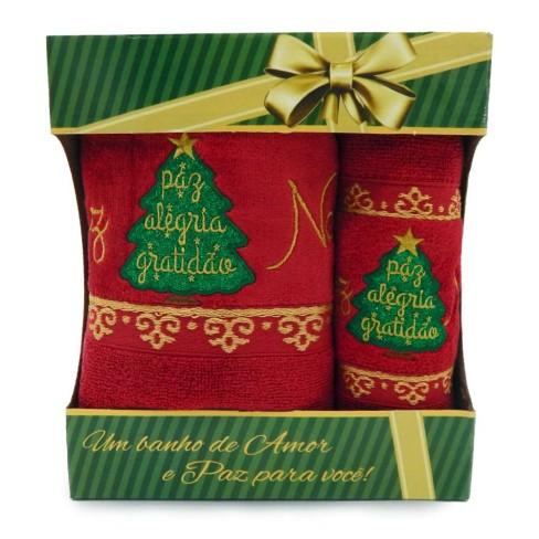 Jogo de Toalhas 2 Peças Natal - Toalhas Appel - Pinheiro laca
