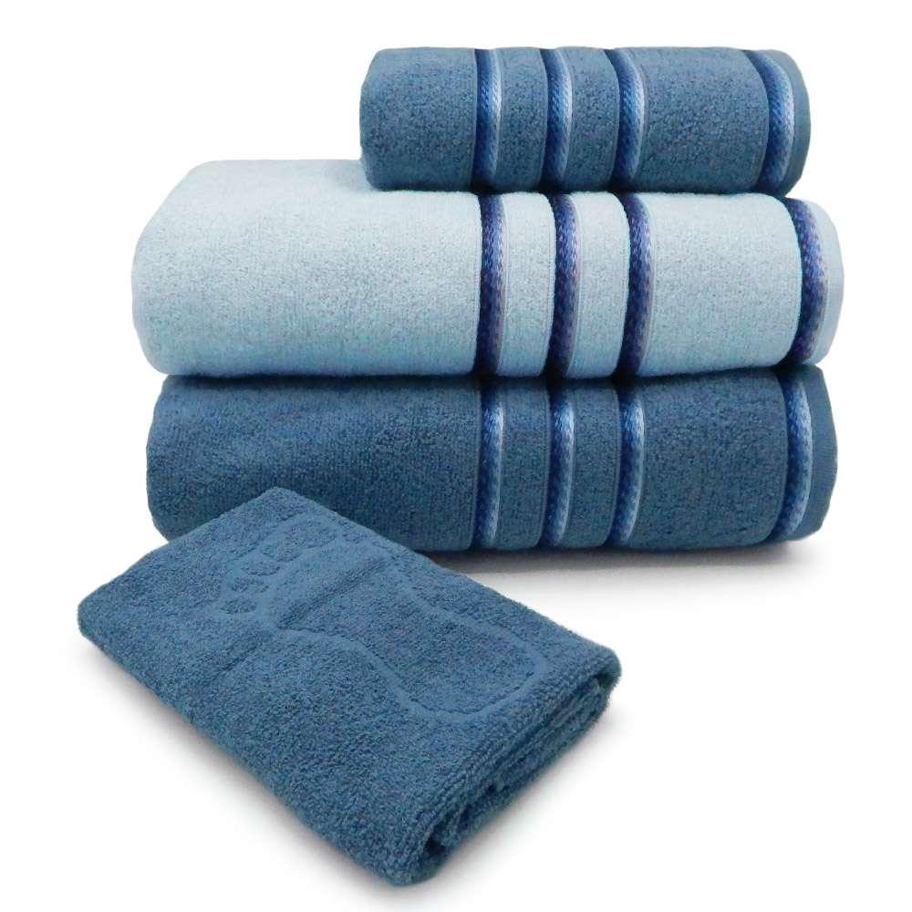 Jogo de Toalhas 4 Peças Classic - Toalhas Appel - Azul infinity/azul polar