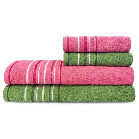 Jogo de Toalhas 4 Peças Nice - Toalhas Appel - Rosa/verde