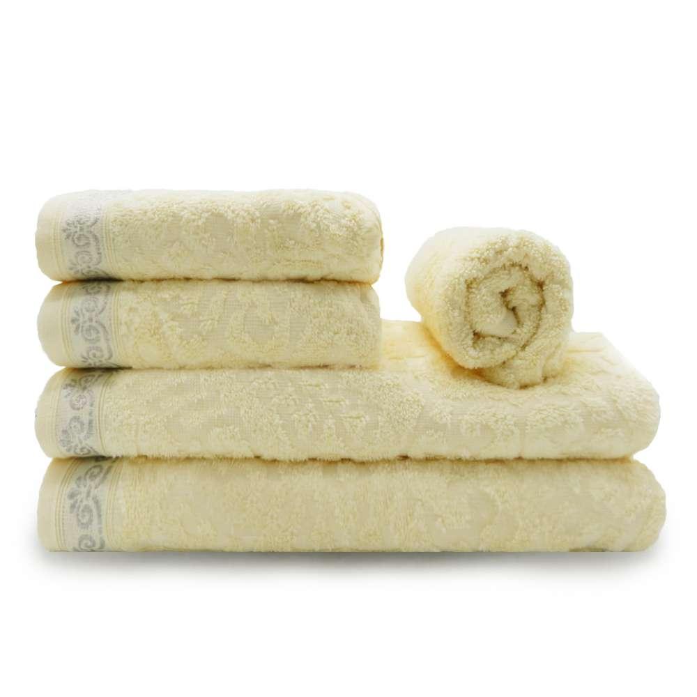 Jogo de Toalhas 5 Peças Ornato Fio Penteado - Appel - Manteiga