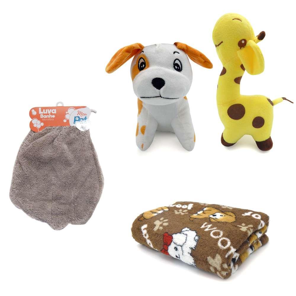 Kit 1 Manta Microfibra Pet + 1 Luva de Banho + 2 Bichinhos para Cães e Gatos - Meu Pet - Marrom