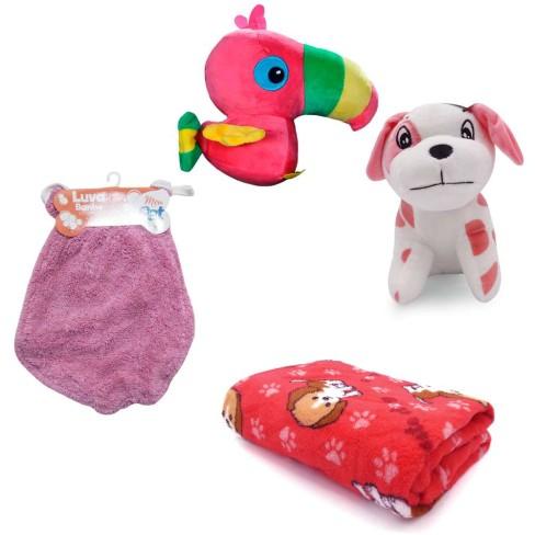 Kit 1 Manta Microfibra Pet + 1 Luva de Banho + 2 Bichinhos para Cães e Gatos - Meu Pet - Vermelho