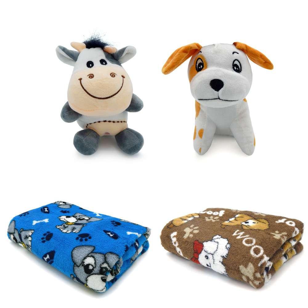 Kit 2 Mantas Microfibra Pet + 2 Bichinhos de Pelúcia para Cães e Gatos - Meu Pet - Azul/marrom