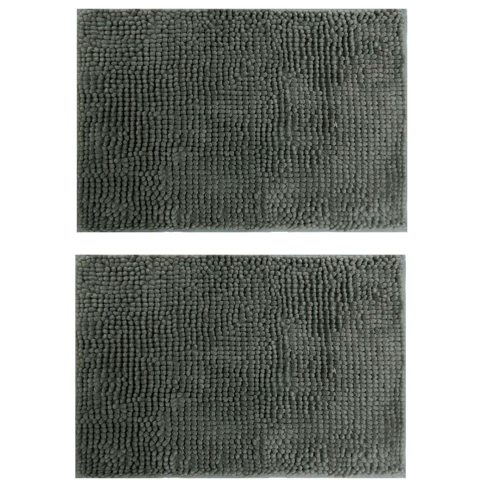 Kit 2 Tapete Base Antiderrapante Latex Popcorn 40x60 - Toalhas Appel - Cinza