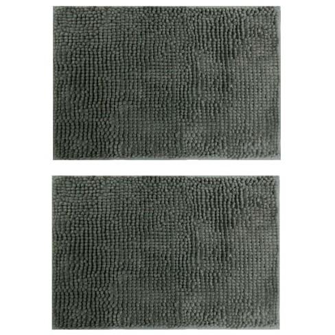 Kit 2 Peças Tapete Base Antiderrapante Latex Popcorn 50x70 - Toalhas Appel - Cinza