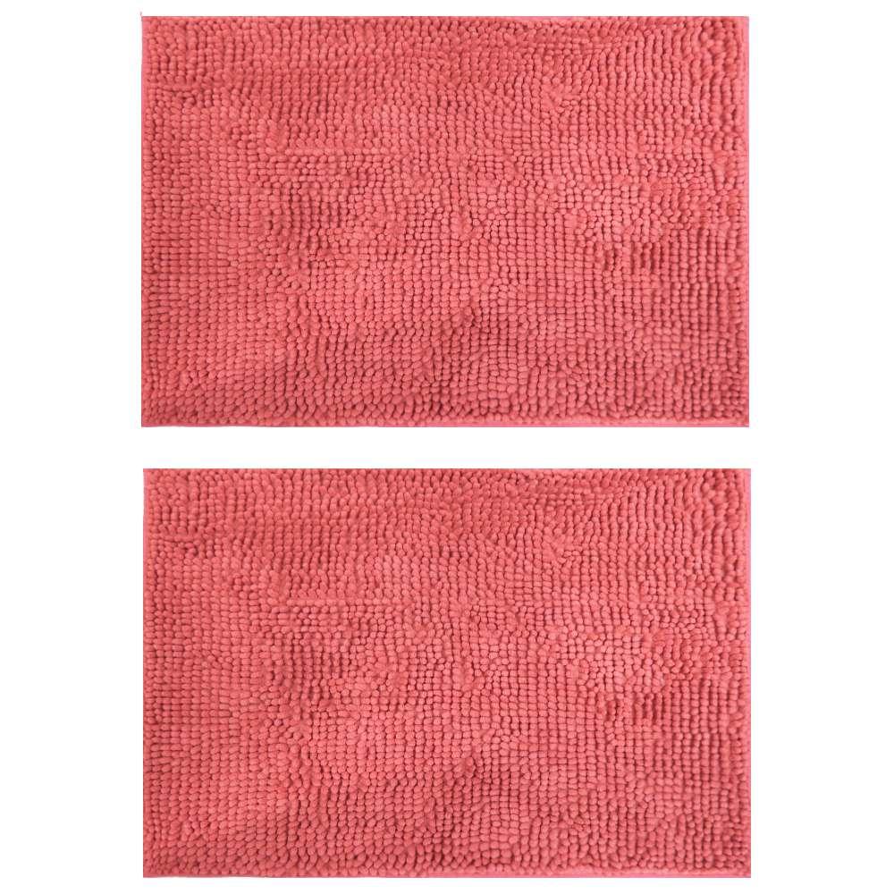 Kit 2 Peças Tapete Base Antiderrapante Latex Popcorn 50x70 - Toalhas Appel - Rosa blush