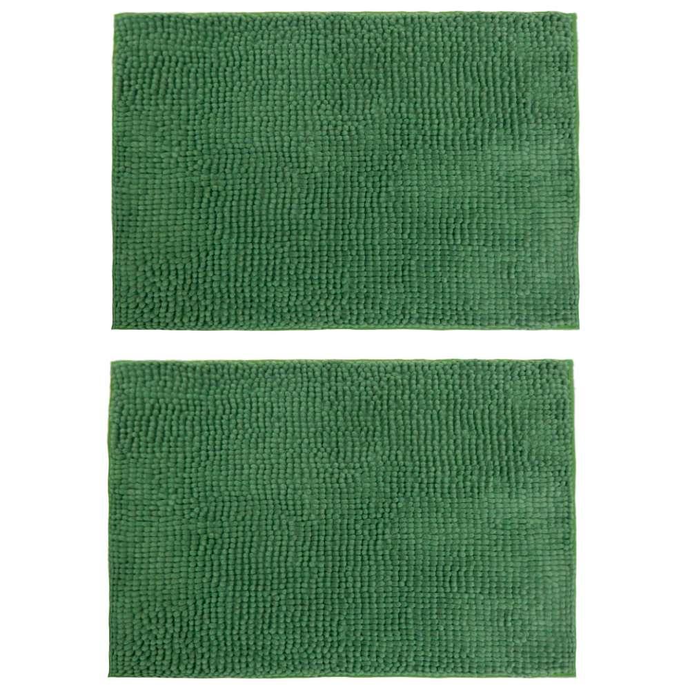 Kit 2 Peças Tapete Base Antiderrapante Latex Popcorn 50x70 - Toalhas Appel - Verde