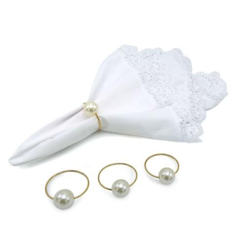 Kit 4 Argolas com pérolas porta guardanapo de tecido - Appel - Perola liso