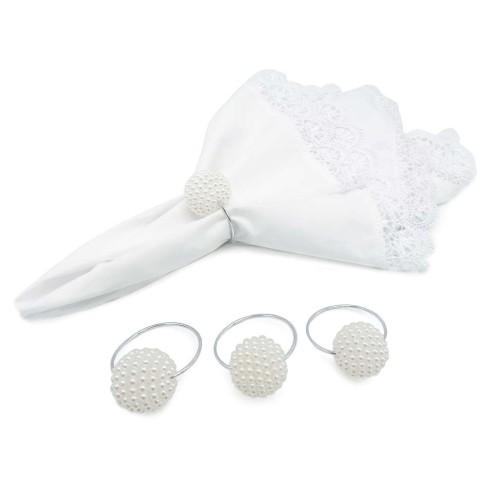 Kit 4 Argolas com pérolas porta guardanapo de tecido - Appel - Branco