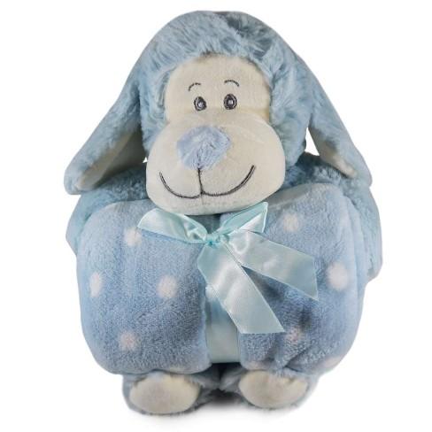 Kit Manta Baby c/ Bichinho de Pelúcia - Bene Casa - Cão azul