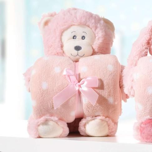 Kit Manta Baby c/ Bichinho de Pelúcia - Bene Casa - Macaco rosa