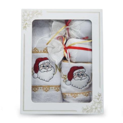 Kit Toalha Rosto e Lavabo + Sachê Bordado Natal - Appel - Natal branco