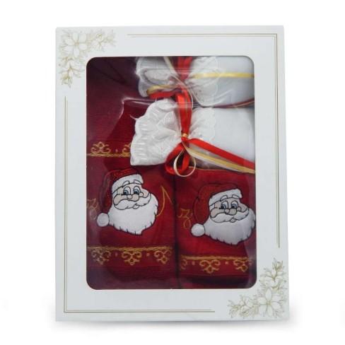 Kit Toalha Rosto e Lavabo + Sachê Bordado Natal - Appel - Natal vermelha