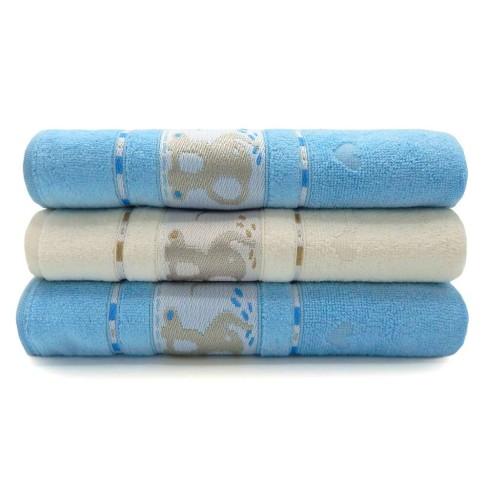 Kit Toalha de Banho Infantil 3 Peças Soft Baby - Toalhas Appel - Azul céu/pérola
