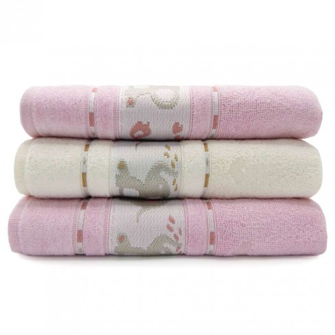 Kit Toalha de Banho Infantil 3 Peças Soft Baby - Toalhas Appel - Pérola/rosa
