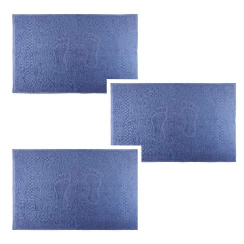 Kit Toalha de Piso 3 Peças Pezinho 45x68 - Toalhas Appel - Azul infinity