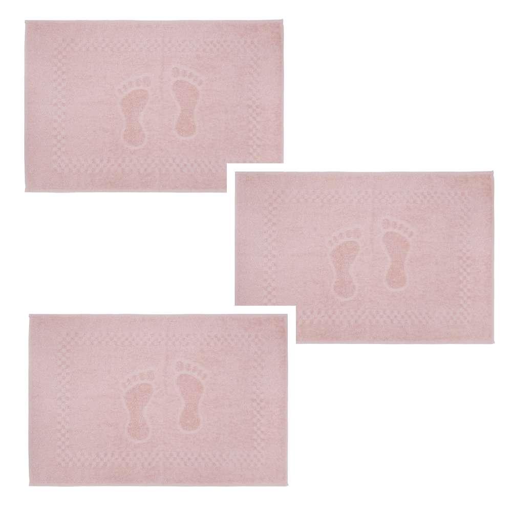 Kit Toalha de Piso 3 Peças Pezinho 45x68 - Toalhas Appel - Rosa cristal