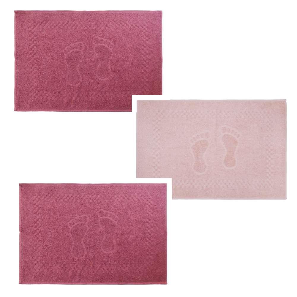 Kit Toalha de Piso 3 Peças Pezinho 45x68 - Toalhas Appel - Rosa glamour/rosa cristal