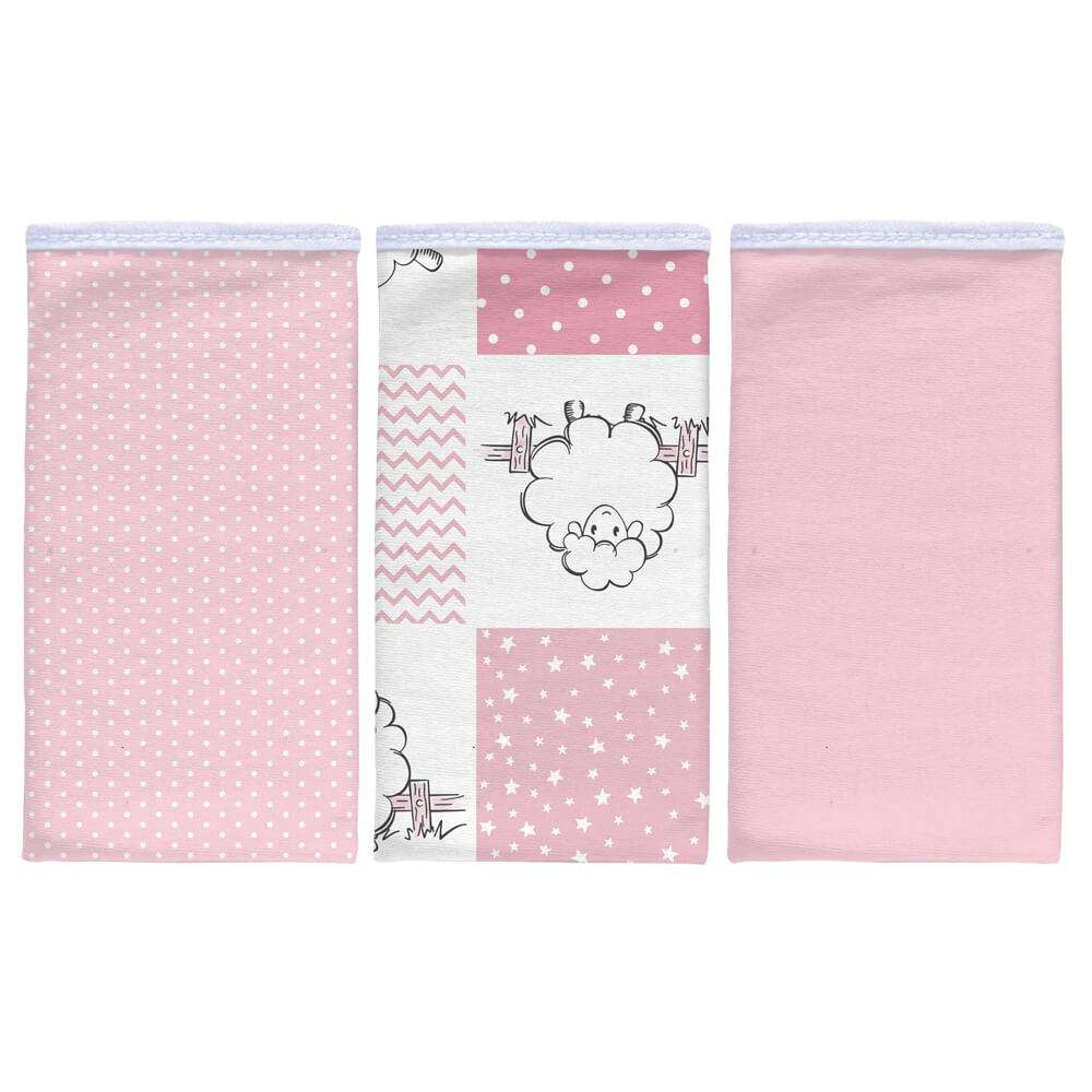 Kit pano de boca 3 peças - Sulbrasil - Ovelha rosa