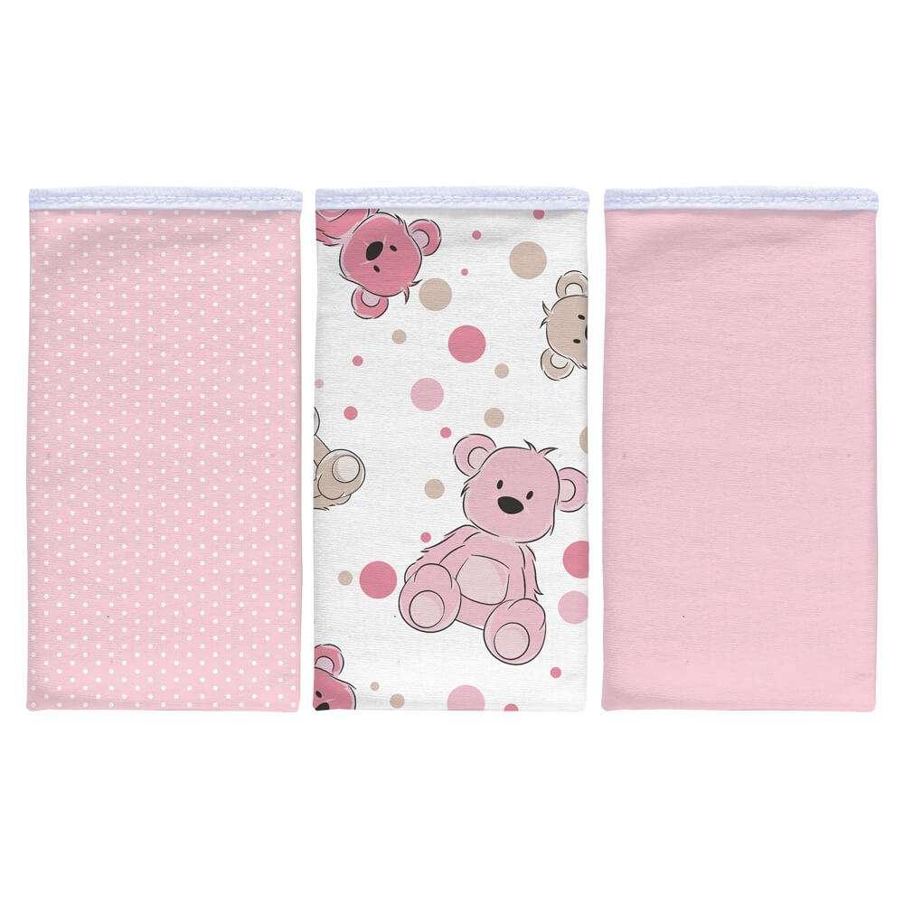 Kit pano de boca 3 peças - Sulbrasil - Urso rosa