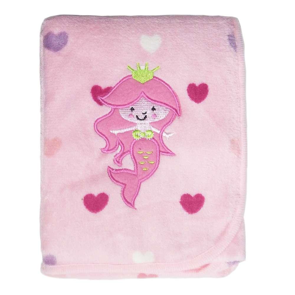 Manta Microfibra Bebê Bordada - Bene Casa - Sereia rosa