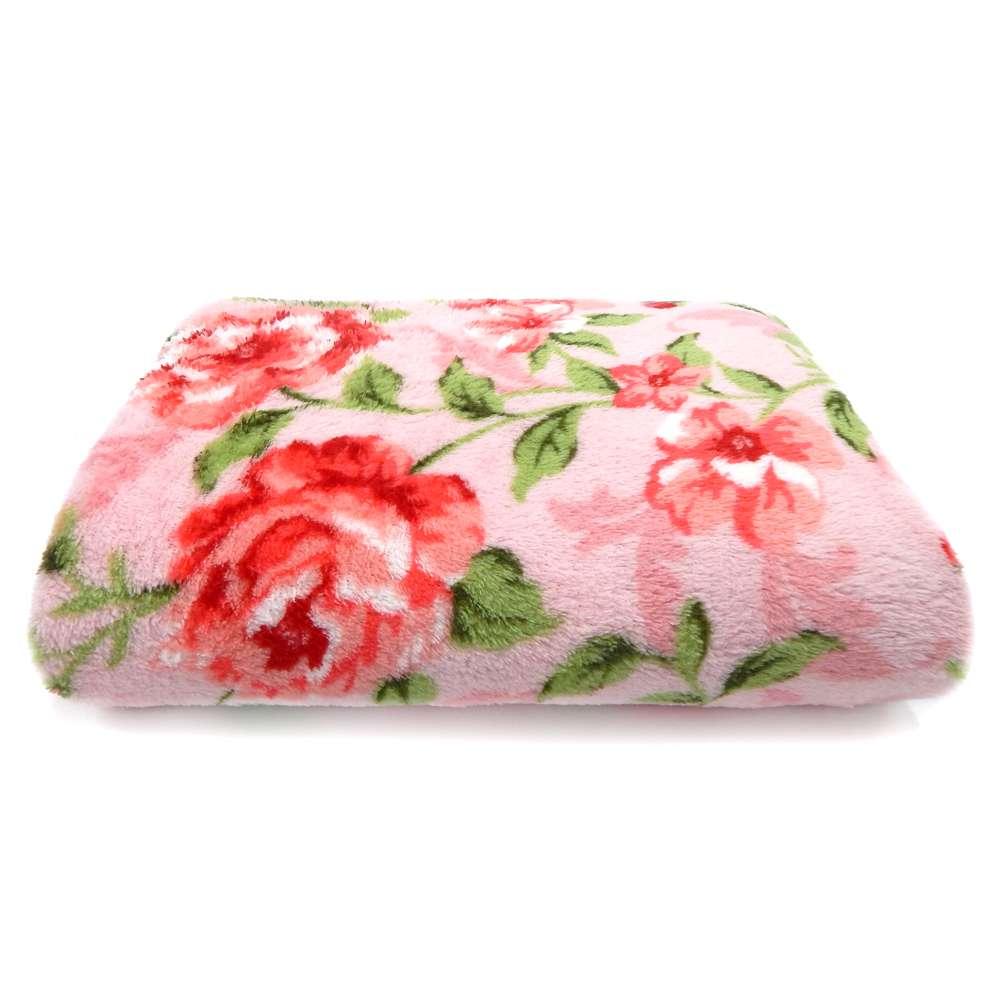 Manta Microfibra TV - Bene Casa - Floral/vermelho