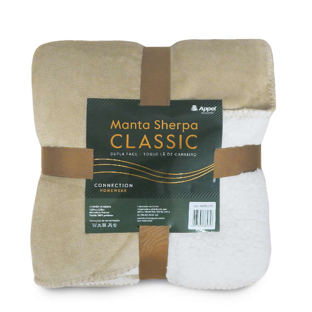 Manta Sherpa Classic Queen 2,10x2,30 - Toalhas Appel - Antilope