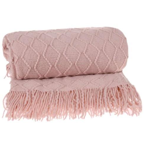 Manta para sofá Tricot 1,27x1,52 - Tessi - Blush